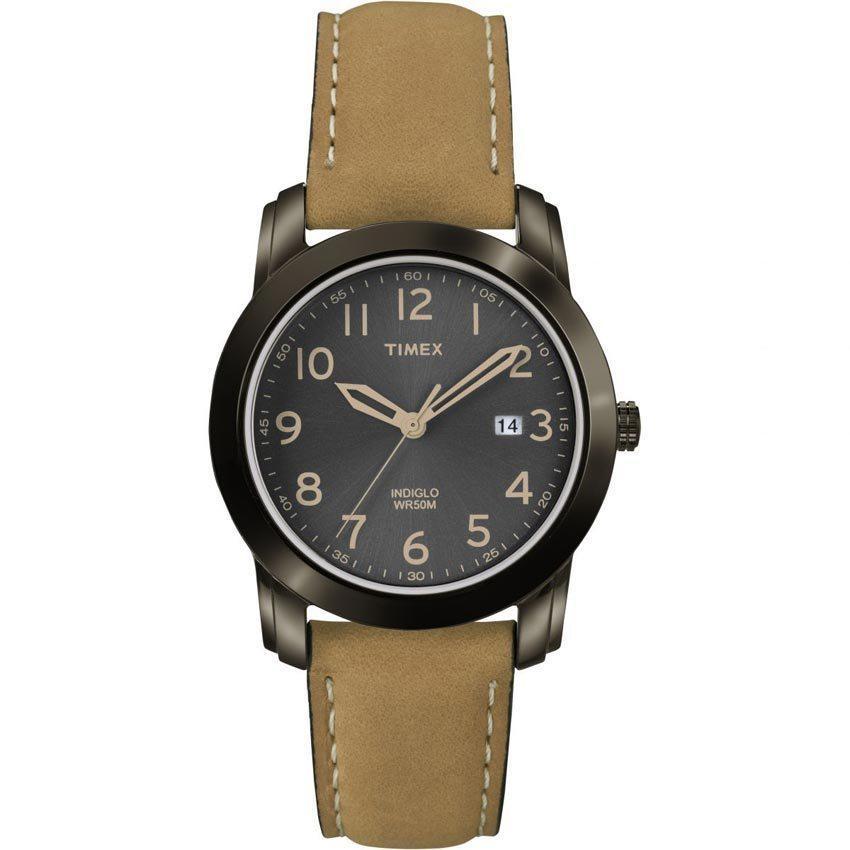 Timex T2P133 Men's Highland Street Tan Leather Strap Medium Watch