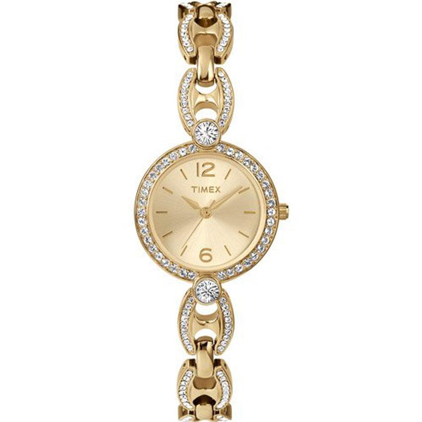 Timex T2P260 Women's Classics Swarovski Crystal Accented Gold Bracelet Small Watch