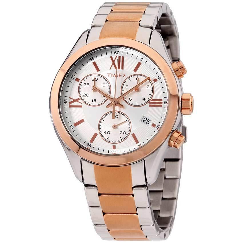 Timex T2P938 Women's City Chronograph Two Tone Bracelet Watch
