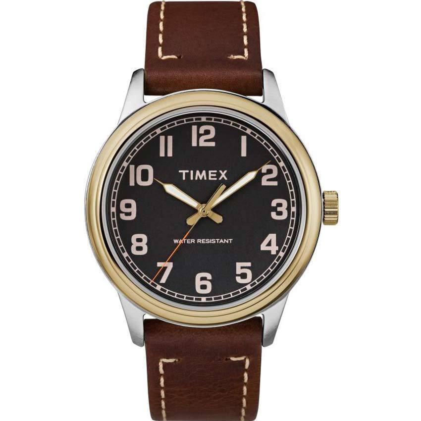 TIMEX TW2R22900 MEN'S NEW ENGLAND GOLD BEZEL BROWN LEATHER MEDIUM SIZE WATCH