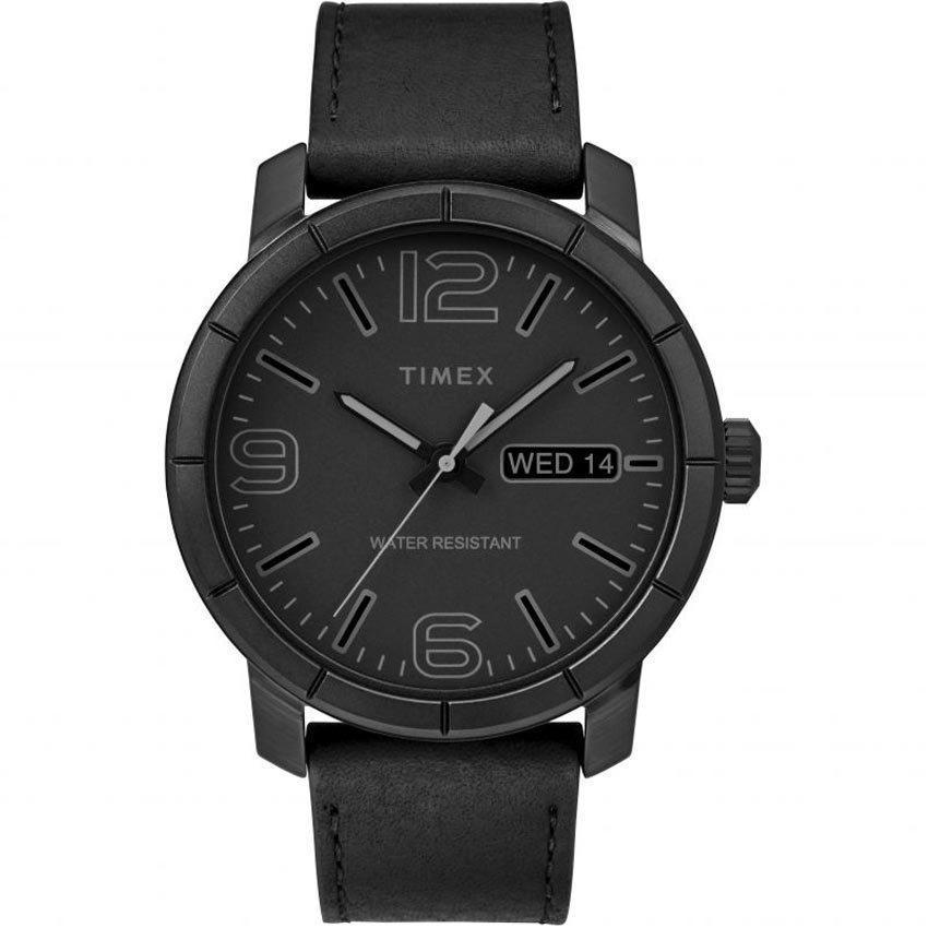 TIMEX TW2R64300 MEN'S MOD 44 CLASSIC DRESS BLACK DIAL LEATHER WATCH