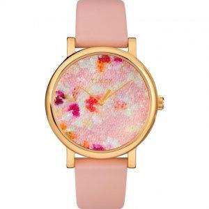 Timex T2R663 Women's Crystal Bloom Swarovski Dial Leather Watch
