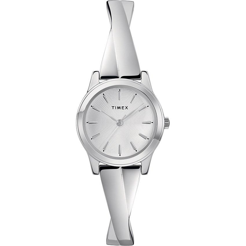 Timex T2R987 Silver Criss-cross Stretch Bangle 25mm Expansion Small Watch