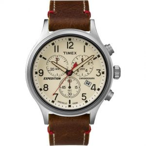 Timex TW4B04300 Men's Expedition Scout Chronograph Leather Watch