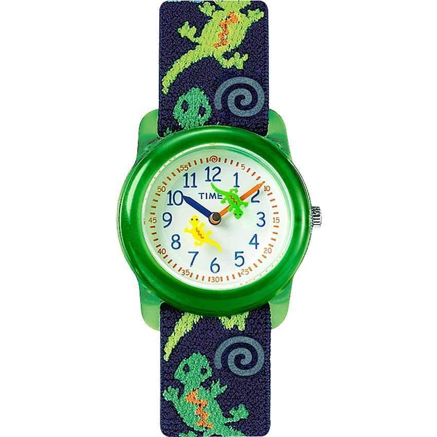 Timex T72881 Kids Geckos Analog Elastic Fabric Strap Watch