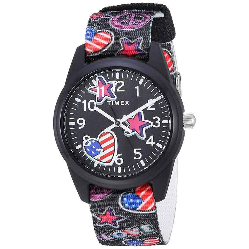 Timex T7C237 Girl's Time Machines Black/Stars & Flags Nylon Strap Watch