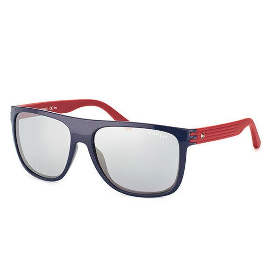 Tommy Hilfiger Men's Rectangular 1277/S Blue Red Silver lens Sunglasses