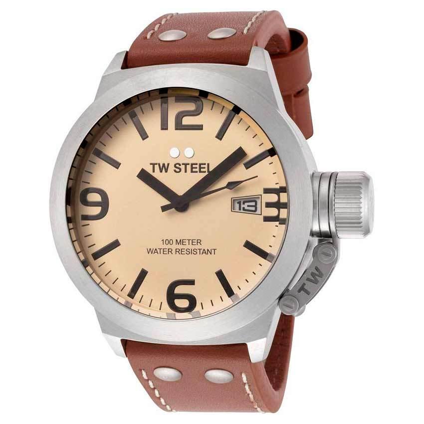 TW Steel TW1 Men's Canteen 45mm Cream Dial Leather Watch