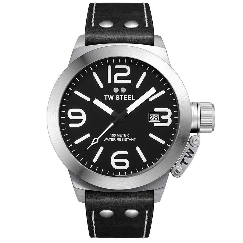 TW Steel TW2 Men's Canteen Black Dial Black Leather Watch