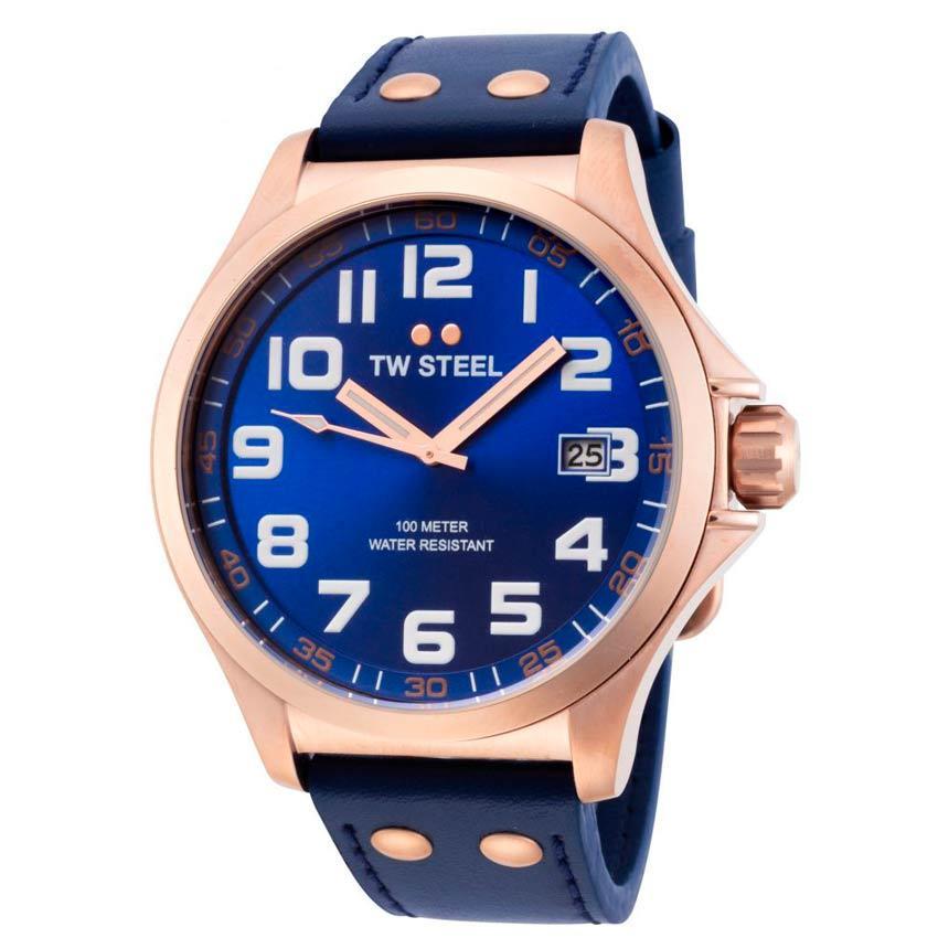 TW Steel TW404 Men's Pilot Rose Gold Blue Dial Blue Leather Watch