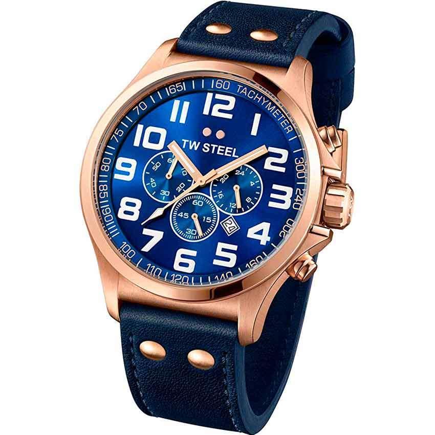 TW Steel TW406 Men's Pilot Chronograph Rose Gold Blue Dial Watch