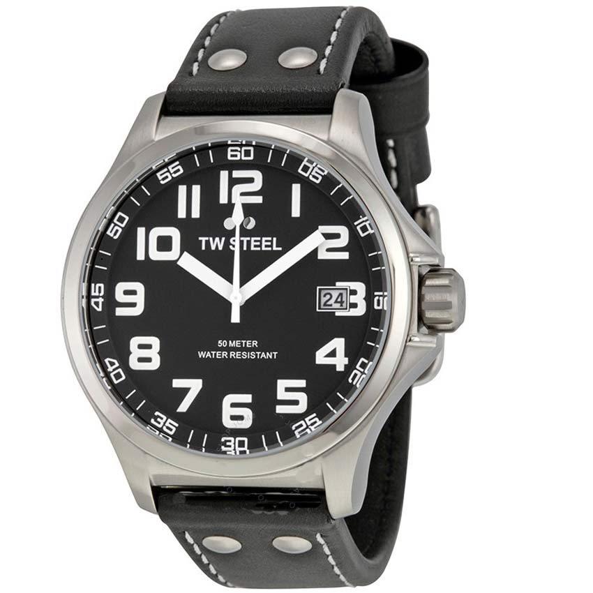 TW Steel TW408 Men's Pilot Stainless Steel Black Dial Black Leather Watch