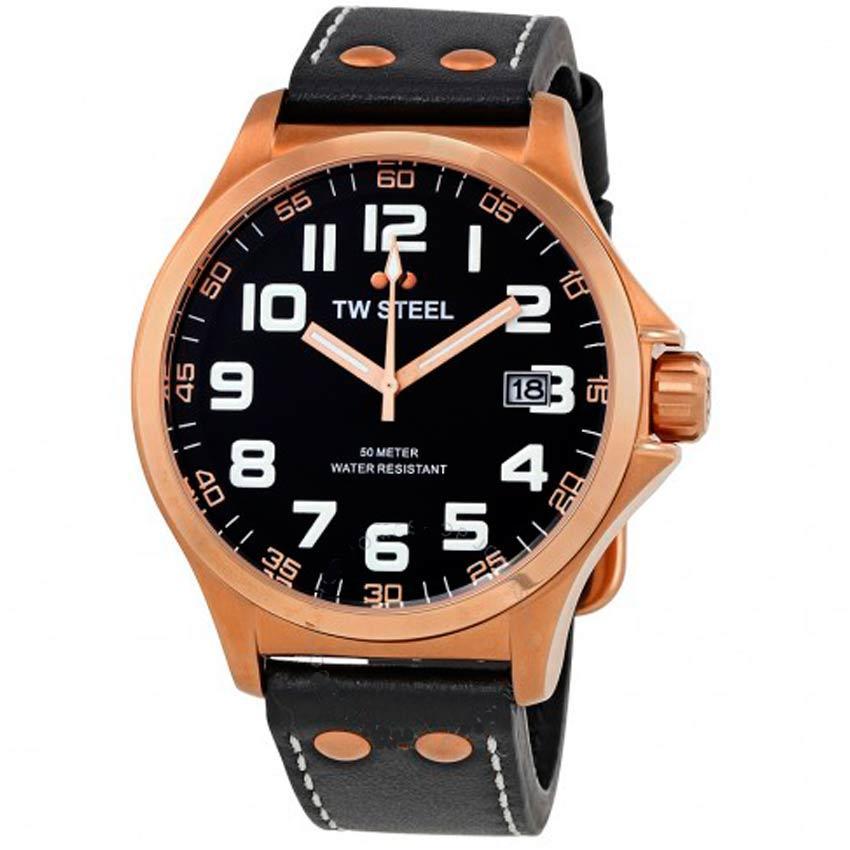 TW Steel TW416 Men's Pilot 45mm Rose Gold-Tone Black Dial Leather Watch