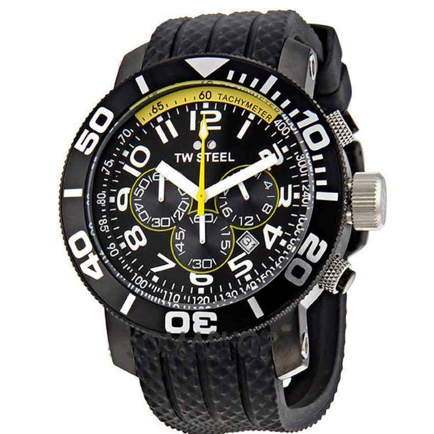 TW Steel TW74 Men's Grandeur Diver Chronograph All Black PVD Rubber Watch