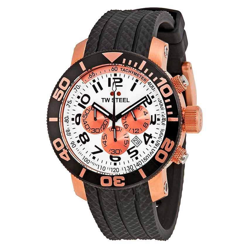 TW Steel TW76 Men's Grandeur Diver Chronograph Rose PVD Rubber Watch