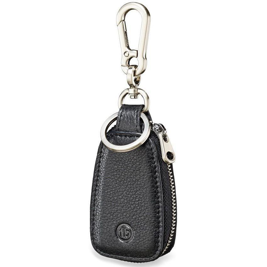 Fred Bennett Y2622 Stainless Steel & Black Leather Keyring