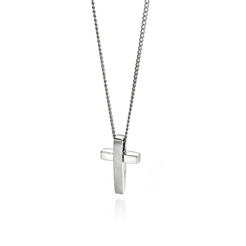 Fred Bennett P2542 Men's Stainless Steel Necklace & Cross Pendant